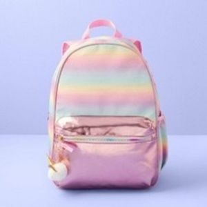"""Girls Pink Ombre Pastel Glitter 17"""" Backpack"""